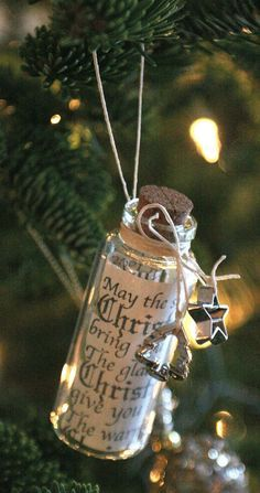 Christmas Wish List Message in a Bottle Ornament | use instead food-centric quotes from Harry Potter (kitchen references, Diagon Alley/Hogsmeade, Weasley treats, Mrs. Weasley's cooking... the choices are endless)!