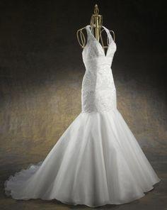 Seductive Halter Deep V-Neck Lace Satin Mermaid Court Train Wedding Gown - Mermaid Wedding Dresses - Wedding Dresses