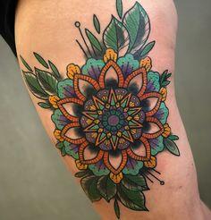 ZdoRodZ Leg Tattoos, I Tattoo, Colorful Mandala Tattoo, Daisy Flower Tattoos, Watercolor Tattoo, Tatting, Tattoo Ideas, Lisa, My Style