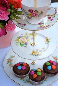 Eclectic vintage cake stand