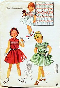 McCalls 2011 McCall Pattern Company Vintage Dress Sewing Pattern Child, Girl Size 1 Breast 20 Dress with smocked yoke and back button closure: 1950s Party Dresses, Vintage 1950s Dresses, Vintage Outfits, Baby Dresses, Retro Dress, Childrens Sewing Patterns, Mccalls Sewing Patterns, Vintage Sewing Patterns, Mode Vintage