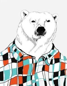 Polar Bears Love Flannel Shirts - Bear Art - Retro Colors. $20.00, via Etsy.