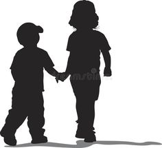 Photo about Silhouette of two children, a boy and a girl, walking hand in hand. Illustration of kids, purity, sweet - 845493