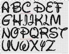 model de cusut - alfabetul cu literele Disney