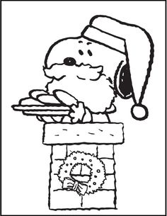 Snoopy and woodstock looking cloud coloring picture for for Snoopy christmas coloring pages