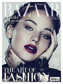 Über Fashion Marketing: Jennifer Lawrence em 2 capas da Harper's Bazaar UK de novembro