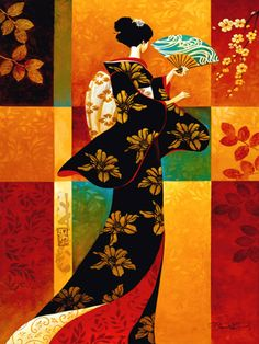 Sakura- Keith Mallett~ A geisha dressed in a bold patterned kimono, fans herself on a warm summer day. This colorful open edition print is pencil signed by the artist.