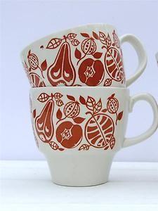60's 70's Retro TAMS Ware Pottery Set 2 Cups Mugs