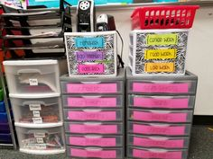 Turn in center. Used zebra Contact paper and bright printer paper for turn in baskets.