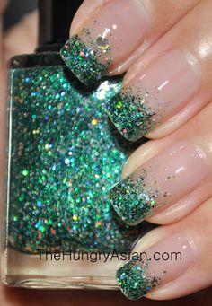 Using glitter polish instead of loose glitter.