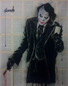 """joker "" ink and gouache drawing by Hussein Tomeh"