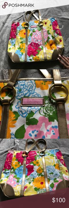 *ONE DAY SALE*Lilly Pulitzer Tote HTF beautiful Lilly Pulitzer bag carried for one summer. Inside has some pen marks but that's all. Print is called Heritage. Lilly Pulitzer Bags Totes