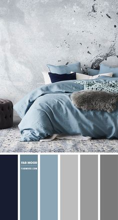 Color Palette For Home, Grey Colour Scheme Bedroom, Blue Rooms, Navy Blue Bedrooms, Home Room Design, Luxurious Bedrooms, Beautiful Bedrooms, House Colors, Bedroom Decor