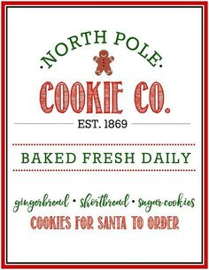 Free North Pole Cookie Co. Christmas Printable North Pole Cookie Co. Lots of different color options available to go with any style or decor. Fun for Christmas decorating, Christmas parties or cookie exchanges! Christmas Labels, Free Christmas Printables, Christmas Svg, Rustic Christmas, Christmas Projects, Christmas Holidays, Vintage Christmas, Christmas Crafts, Christmas Ornaments
