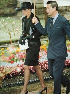 July 15, 1993: Princess Diana with Prince Charles at her grandmothers's funeral, Lady Fermoy.
