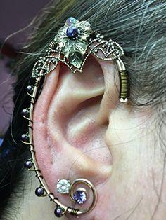 ELVEN EAR CUFFS Bronze Gold Leaves Woodland Fairy Nature Elf, Fairy Ear Cuffs, Cosplay Elf Ear Cuffs, Fantasy Costume Ear Cuffs