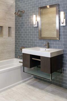 Minimalist glass and ceramic bathroom #thetileshop