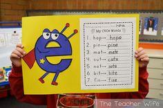 Super e (magic e the super hero) the teacher wife Kindergarten Language Arts, Teaching Language Arts, Kindergarten Literacy, Preschool, Cvce Words, Phonics Words, First Grade Phonics, First Grade Reading, Phonics Reading