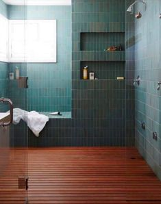 Best Master Bathroom Design Ideas For Your Big Home . modern green tile and wood slat floor in large master bathroom shower modern shaker beach house tour on coco kelley