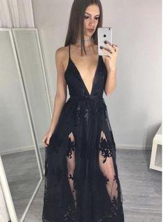 Black Spaghettis Straps Prom Dresses Side Slits Appliques