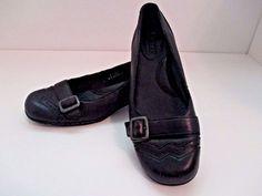 Born Women's Leather Loafers w/Buckles Wingtip Kitten Heel Black 6 US 36.5 Euro #Brn #LoafersMoccasins #Casual