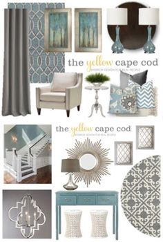 The Yellow Cape Cod: Three Rooms, One Design~ A Foyer, Living and Dining Design Plan room design yellow Blue Living Room, Living Room Paint, Living Room Inspiration Board, Home Decor, Coastal Living Rooms, Dining Design, Living Room Grey, Yellow Living Room, Interior Design