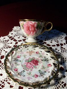 Pink Floral High Tea Cup and Saucer Gold Reticulated Opaque Iridescent Royal Halsey- charming