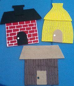 Three Little Pigs Flannel Board Felt Board Story Houses Flannel Board Stories, Felt Board Stories, Felt Stories, Flannel Boards, Crafts For Kids, Arts And Crafts, Preschool Songs, Three Little Pigs, Toddler Activities