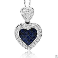 1.50 TCW Diamond & Blue Sapphire Heart Shape Pendant 18k Solid White Gold - 11 Main