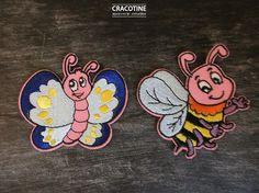 2 écussons patchs appliqués papillon et abeille