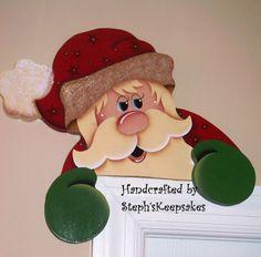 Hand painted Santa Door Hanger by stephskeepsakes on Etsy, $19.95