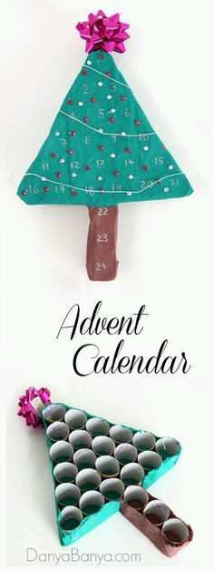 Make an advent calendar from tubes (toilet rolls or paper towel tubes).  More info & other great ideas https://www.facebook.com/316324648573114/photos/pcb.406645516207693/406645249541053/?type=3&theater
