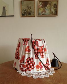 Lampshade made of vintage fabric.