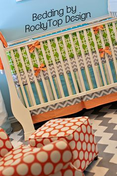Orange, Aqua Blue, Gray and Lime Green...this bedding is gorgeous!  www.rockytopdesign.etsy.com