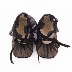 Leather baby shoes covered with black shirred by Vibys on Etsy