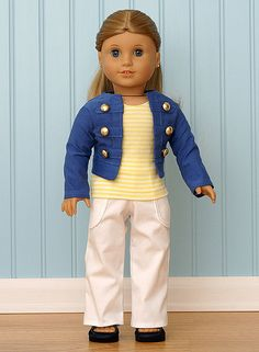 American Girl Doll Clothes-Blue Military Jacket Set