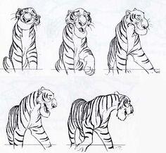 Shere Kahn is my favorite Disney villain Disney Sketches, Disney Drawings, Cartoon Drawings, Animal Drawings, Character Sketches, Character Design References, Character Drawing, Disney Kunst, Arte Disney