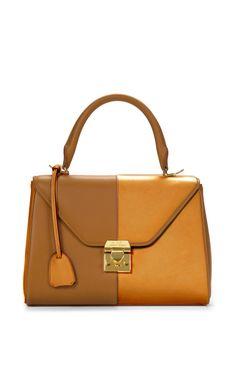 M'O Exclusive: Small Scottie In Two-Tone Luggage And Marigold Calf Leather by Mark Cross - Moda Operandi