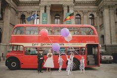 balloons, double decker transportation, and lace