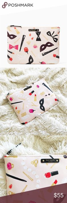 "Kate Spade hop to it gia make up clutch pouch * canvas with smooth leather trim * custom wipeable lining * 14-karat gold plated hardware cosmetic pouch with zip top closure 7.2""h x 10.1""w dust bag not included kate spade Bags Cosmetic Bags & Cases"