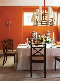 Bold Tangerine Dining Room