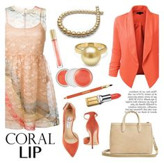 """""""Spring Beauty: Corals"""" by pearlparadise ❤ liked on Polyvore featuring RED Valentino, LE3NO, Anja, Jimmy Choo, Diane Von Furstenberg, Clinique, Elizabeth Arden, Sisley, Max Factor and women's clothing"""