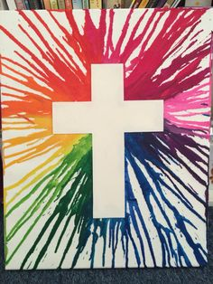 Melted crayon cross