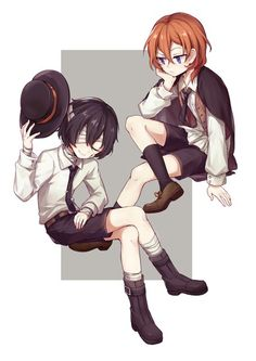 Chuuya is a fashionista even since a kid. Dazai with the bandages. Baby, what happened to you? ;A;