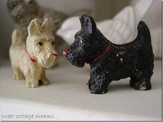 vintage small wooden black and white scottie figurines - Google Search
