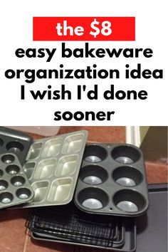 If you don't have a lot of storage space in your kitchen and your bakeware is cluttered you'll love this simple and easy kitchen storage solution. Cheap dollar store kitchen organization hack if you don't have a pantry or lots of kitchen cabinets or drawers. Cheap Storage, Storage Hacks, Diy Storage, Kitchen Organization, Organization Hacks, Kitchen Storage, Food Storage, Organizing Tips, Kitchen Hacks
