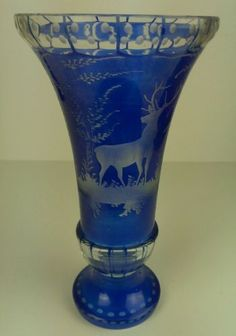 Bohemian Art Glass Vase Cut to Clear Cobalt Blue Wildlife Deer   eBay