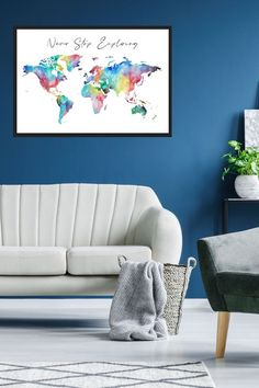 This travel map is the perfect travel gift for anyone who loves exploring. The colourful poster has a retro feel and watercolour appearance. It's makes a great piece of art for anyone interested in home decor and interior design. #TravelMap #TravelMapPrint #TravelMapPoster #MapPoster #Watercolour #InteriorDecor #HomeDecor #Rainbow