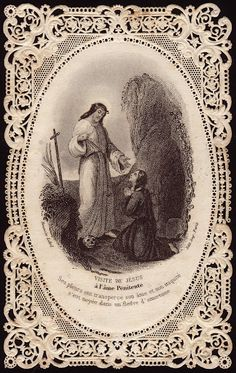 Mary Magdalene meets Jesus in the garden - Holy Card