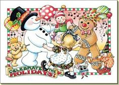 Mary Engelbreit Holiday Christmas Snowman Ginger Bread 10 Cards New Set Pack Mary Christmas, Christmas Art, Christmas And New Year, Christmas Holidays, Xmas, Christmas Graphics, Christmas Scenes, Winter Holiday, Christmas Stuff